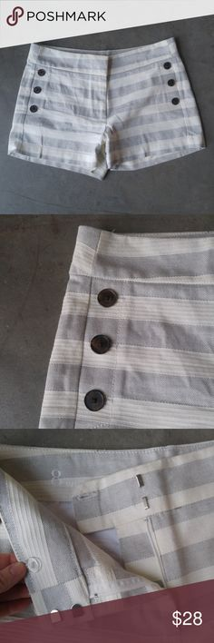 """LOFT White and Gray Striped Sailor Shorts Ann Taylor LOFT shorts, size 8, in excellent condition! """"Sailor"""" shorts. Gray and white stripes, button details on front pockets, tab button fly. No trades. No modeling. Make a reasonable offer. Thanks! LOFT Shorts"""