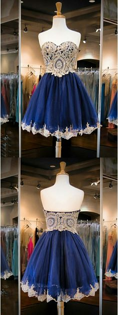 navy blue homecoming dresses, appliques homecoming dresses, short prom dresses, sweetheart party dresses