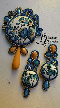 Soutache Pendant, Soutache Earrings, Shibori, Rock Art, Fiber Art, Jewelry Making, Brooch, Jewels, Beads