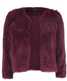 Magenta Short Chubby Faux Fur Coat