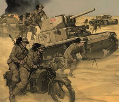 Italian WWII Desert Army in North Africa, 1940-1943, Bersaglieri motorized units, Carro Armato M13/40 tanks, Semovente tanks, Fascist Blackshirt units (MVSN)