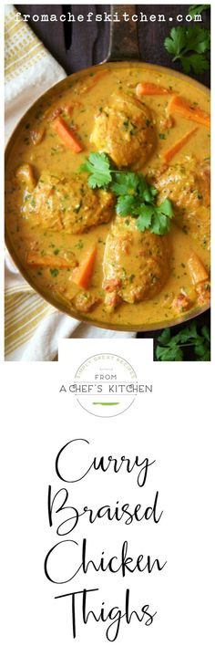 Spice up your night with these Indian-inspired Curry Braised Chicken Thighs that are easy to prepare and crazy delicious!