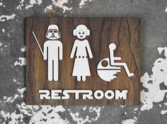Family Restroom Sign - Star Wars themed custom signs - brushed metallic acrylic on dark walnut