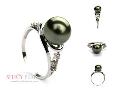 Black Cultured Tahitian Pearl Ring Solid Gold Ring Setting with Diamond Accent Tahitian Pearl Ring, Tahitian Black Pearls, Pearl Jewelry, Fine Jewelry, Pearl Rings, Jewellery, Pretty Rings, Ring Designs, Solid Gold