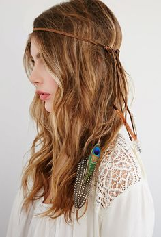 FOREVER 21 Faux Suede and Velvet Feather Headband