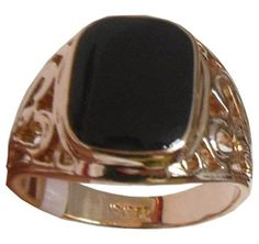 18ct Rose Gold plated black Onyx mens ring boys signet band Patterned engagement ring: Amazon.co.uk: Jewellery