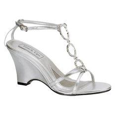 Wedge White Bridal Shoes O Rings Detail