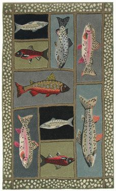 Mountain Trout Area Rug Log Cabin Decor and Western Ranch Decor - Discover the lodge influence in Cabin Decor and Western Decor with a southwestern flair. Rug Runners, Hand Hooked Rugs, Needlepoint Pillows, Western Decor, Fish Art, Rug Hooking, Throw Rugs, Trout, Wool Rug