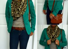 Spark & Chemistry Blog -  Green blazer with blue jeans and leopard scarf; Fall look