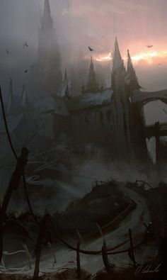 Castle in the fog, Darek Zabrocki on ArtStation at https://www.artstation.com/artwork/castle-in-the-fog