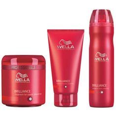 Wella Professionals Brilliance Trio for Coarse Coloured Hair- Shampoo, Conditioner & Treatment featuring polyvore beauty products haircare wella hair care wella