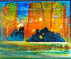 """Title: Devil's Chair/Lake Superior...8""""x10"""" acrylic on canvas. A place of power steeped in Native Spirituality. I first visited this area in the late sixties when Gargantua Harbour was still being used by commercial fishermen...the imagery is powerful and still finds it's way on many of my canvases. $195.00"""