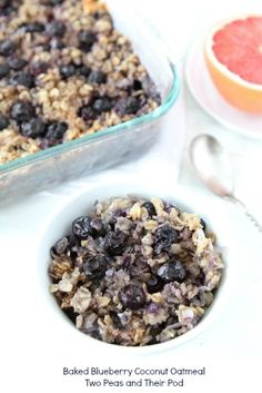 Baked Blueberry Coconut Oatmeal-made with coconut oil! Recipe from twopeasandtheirpod.com. Love this healthy oatmeal!