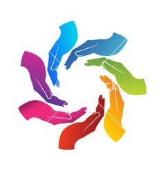 Hands teamwork logo vector image on VectorStock Ep Logo, Carta Logo, Teamwork Logo, Sound Logo, Rainbow Logo, Picture Logo, Hand Art, Logo Images, Logo Design Inspiration