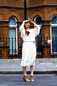 Outfit - courtesy of Navy London. DIY socks - Topshop. Shoes - Carvela. Tie - Vintage. http://www.styleslicker.com/2011/08/18/navy-london/