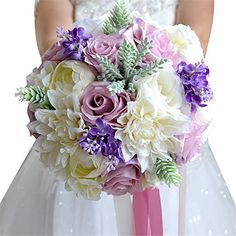 Zebratown 9   Artificial Calla Lavender Flower Purple Rose Wedding Bouquet  Party Home Decor (Purple 7eba942ee6193