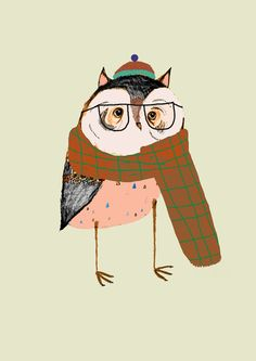 Owls Love Scarfs.  by Ashley Percival  If you like this, check out Ryan Berkely Illustrations http://www.etsy.com/shop/berkleyillustration