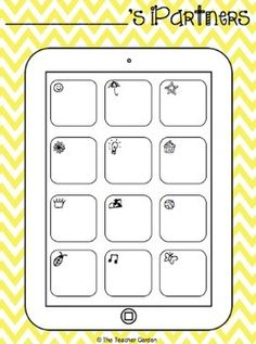 "iPartners: Tablet Version. Let kids pick 12 different partners, and write their names on the ""apps."" Then, when partners are needed in class, simply call out an app's name and watch as students pair themselves in a matter of seconds."