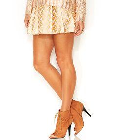 RACHEL Rachel Roy Foil-Print Pleated Mini Skirt