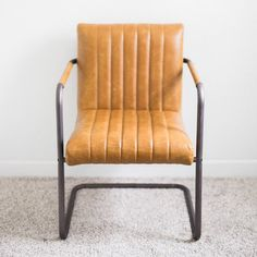Mid-Century Modern Brown Cognac Leather Chair l Birch & Brass Vintage Rentals l Weddings and Corporate Events l Austin, Texas