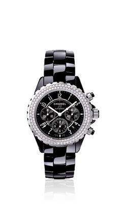 J12 DIAMOND CHRONOGRAPH CHANEL WATCH. Baby Chanel, Coco Chanel, Black Gems,  Chanel 6b827f63c619