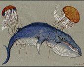 "ORIGINAL-Whale Blue jellyfish play sea marine mammal ocean animal nature 11x8"" 29x21  cm art original Watercolor painting by Juan bosco"