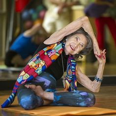 """Even after 3 hip replacement surgeries, Tao Porchon-Lynch still travels widely to teach #yoga, driving her Smart car daily. Tao, 97, credits her longevity to keeping her vortexes of energy flowing with """"the fire of life,"""" and waking up each morning with a positive attitude. (She's also a lifelong vegetarian, a wine enthusiast and a longtime widow.) Tao — who said she was raised by an uncle and aunt in Pondicherry, India, after her mother died in childbirth — began practicing yoga at age 8…"""