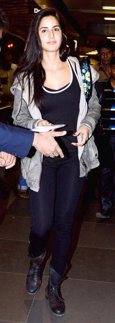 Katrina Kaif at the Mumbai airport. #Bollywood #Style #Fashion