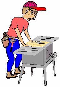 Carpintero cortando la madera. Gif animado.