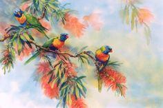 Rainbow Lorikeets Painting by Janet Flinn