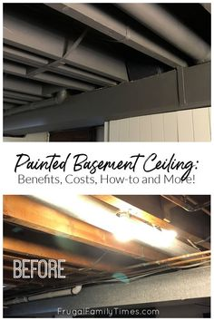 I knew a painted basement ceiling was the right solution for our basement pub and hobby room. It ticked a lot of practical boxes - the benefits of a black basement ceiling are many - including how much taller the room looks, plus it's easy and so affordable! Black Ceiling Paint, Basement Ceiling Painted, Ceiling Paint Colors, Small House Decorating, Decorating Tips, Using A Paint Sprayer, Basement Remodeling, Basement Ideas, Brick Paneling