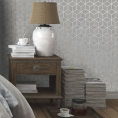 Statement Silver effect Rochester Metallic effect Wallpaper - B&Q for all your home and garden supplies and advice on all the latest DIY trends B&q Wallpaper, Wallpaper Stairs, Metallic Wallpaper, Islamic Wallpaper, Wallpaper Ideas, Lounge Decor, Hallway Inspiration, Home Decor Inspiration, Art Deco Curtains