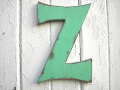 Wooden Letter Sign Z 12 inch Green distressed by LettersofWood, $25.00