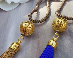 Collar borla larga con perlas de vidrio por AllAboutEveCreations
