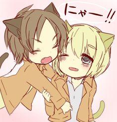 Neko Eren and neko Armin // AoT Attack On Titan, Eren X Armin, Ereri, Vocaloid, Neko, Chibi, Wattpad, Kawaii, Cosplay