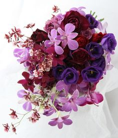 ブーケ クラッチ 紫の赤 紫の青
