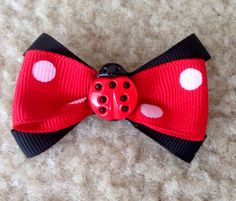 Black and Red  LADYBUG Hair Bow 2.5  French by Galimelisworld