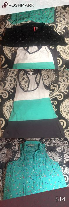 Tank Tops The ones with boats is from Hollister and is a small. The black one is from H&M. The white, turquoise, and gray one is a small. Good for summer weather ☀️☀️ will accept offers. Hollister Tops Tank Tops