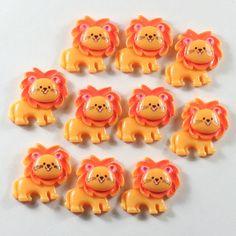Lot 10pcs the Cute Little Lion Cabochons Animal Resin Flatbacks Scrapbooking Hair Bow Center Craft Making Embellishments DIY