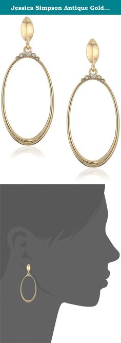 Jessica Simpson Antique Gold/Crystal Crowned Oval Frontal Earrings. Made in China. Crowned oval frontal earring. Imported.