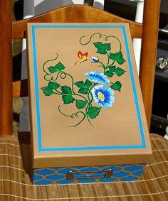 Memory Photo Keepsake Box With Blue Flowers