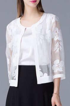 Olisi White See-Through Cut Out Jacket | Jackets at DEZZAL - #bllusademujer #mujer #blusa #Blouse