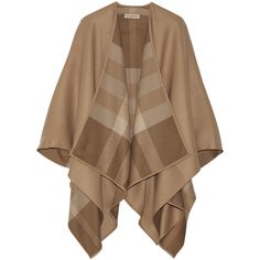 Burberry Shoes & Accessories Wool cape (2,905 SAR) ❤ liked on Polyvore featuring outerwear, coats, cape, cardigans, burberry, wool cape, cape coat, camel cape, woolen cape and burberry cape