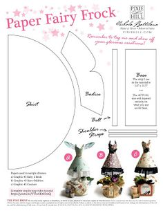 Paper Fairy Frocks with Tutorial - Nichola Battilana 3d Paper Crafts, Paper Toys, Paper Art, Arts And Crafts, Paper Crafting, Dress Card, Painted Sticks, Scrapbook Cards, Scrapbooking