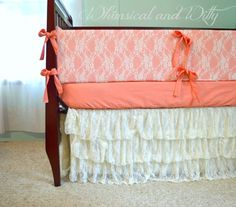 Shabby Chic Salmon and Lace Baby Crib Bedding by WHIMSICALandWITTY