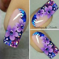 Beautiful nail art designs that are just too cute to resist. It's time to try out something new with your nail art. Beautiful Nail Designs, Beautiful Nail Art, Fingernail Designs, Nail Art Designs, Nail Art Flowers Designs, Floral Designs, Nails Design, Fancy Nails, Trendy Nails