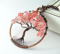 Árbol de la vida colgante alambre envuelto joyas cuarzo cereza cobre alambre envuelto collar rosa árbol