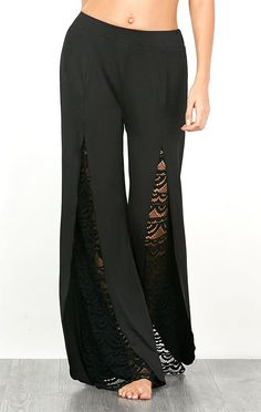 de83e99f1b 2017 new fashion Women Boho lace front split High Waist casual Pants Wide  Leg Long Trousers Loose long pants Trousers