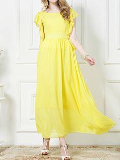 Yellow Chiffon Maxi Dress With Ruffle Sleeve
