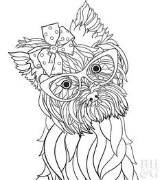 Rounding out our dog images is the lively Yorkshire Terrier. Originally owned by textile workers, people joked that their silky coats came from the looms. Although that may not be true, we've woven this Yorkie a fabric bow for you to color. Puppy Coloring Pages, Colouring Pages, Adult Coloring Pages, Coloring Sheets, Coloring Books, Dog Crafts, Animal Crafts, Printable Coloring Pages, Yorkshire Terrier
